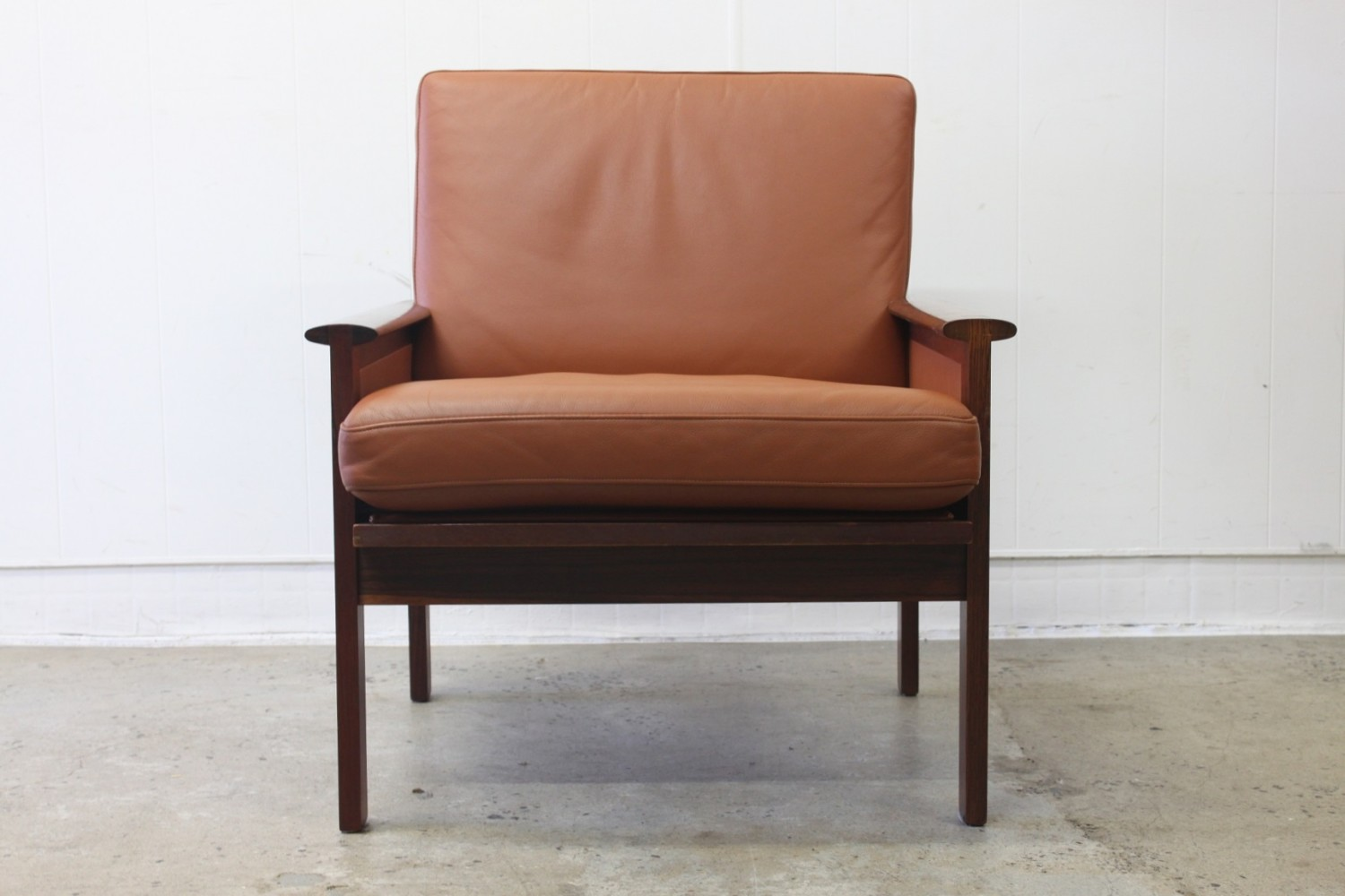 Tan Leather Arm Chairs by Illum WikkelsØ