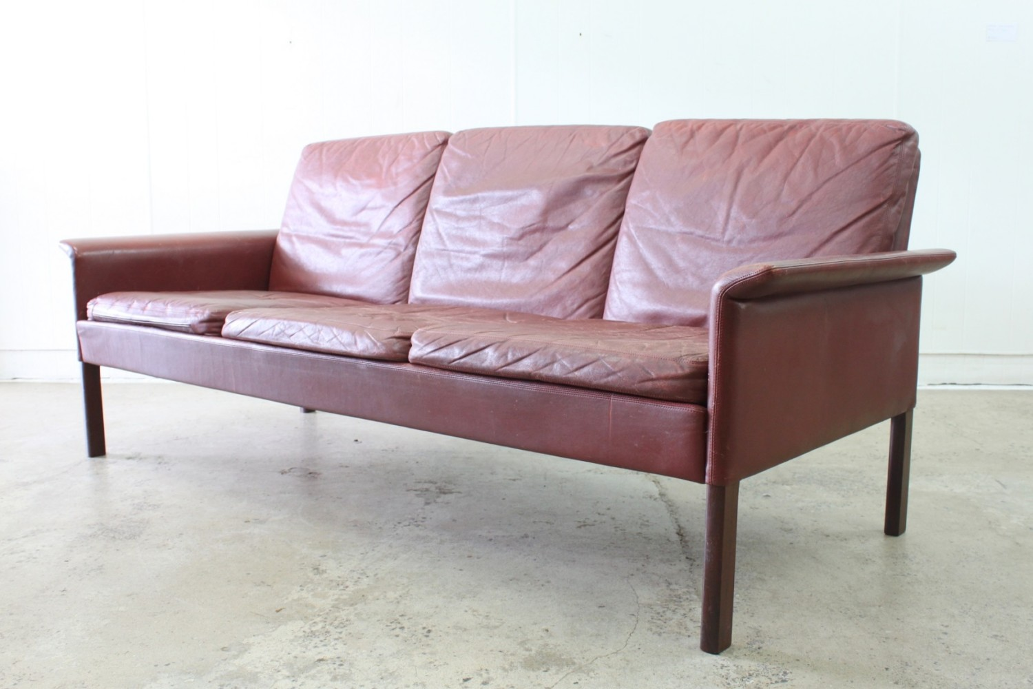 Leather Sofa by Hans Olsen
