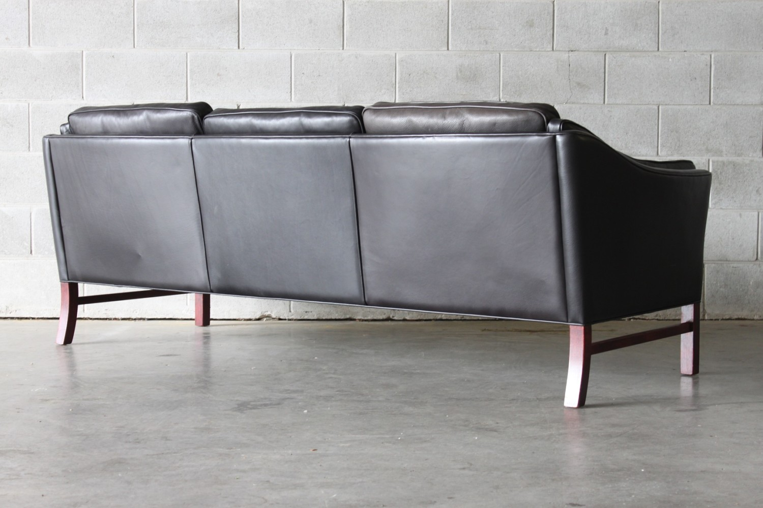 Pair of Black Leather Sofas
