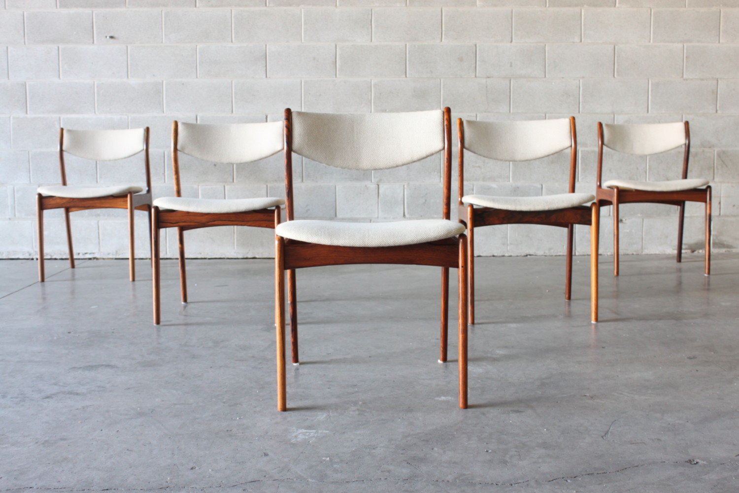 Rosewood & Wool Dining Chairs