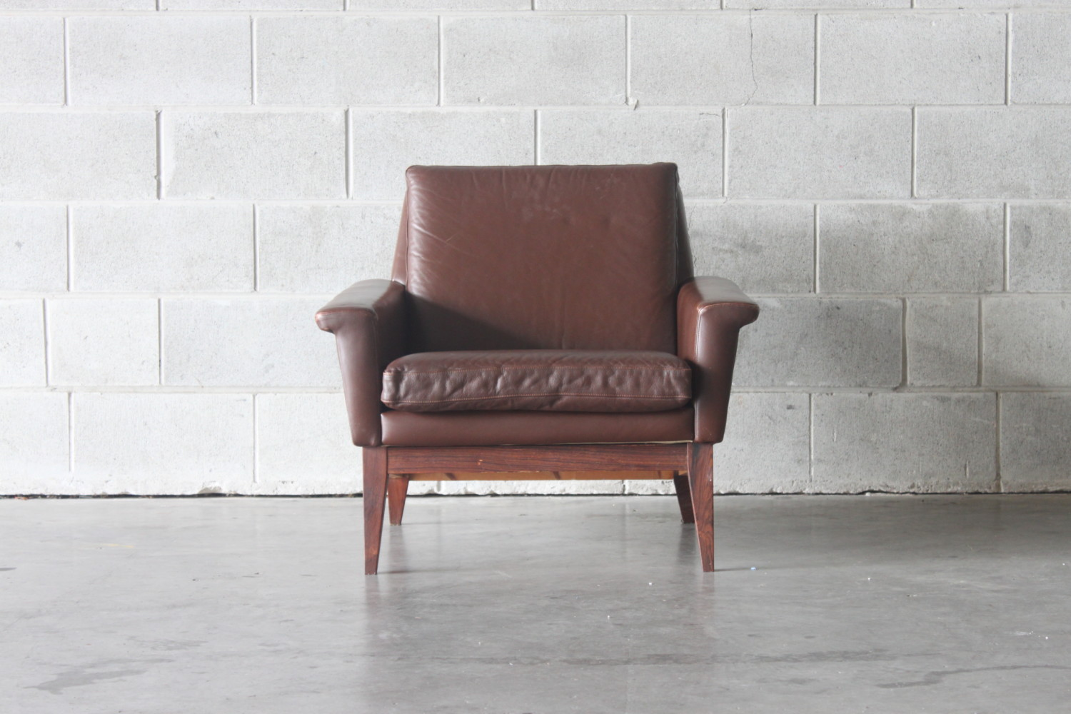 Leather  & Rosewood Armchair