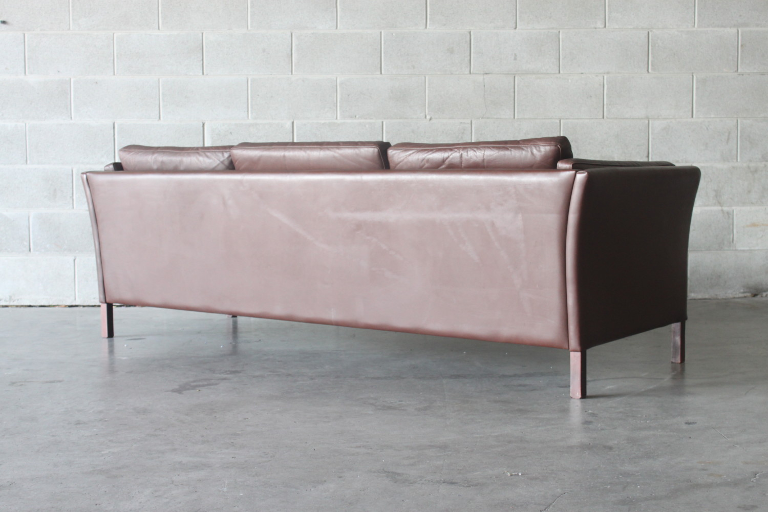 Pair of Brown Leather Sofas