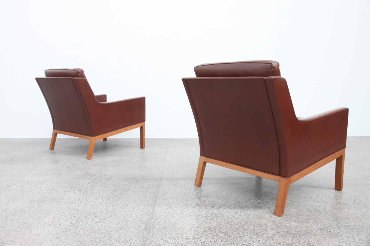 Oak & Leather armchairs by Kai Larsen