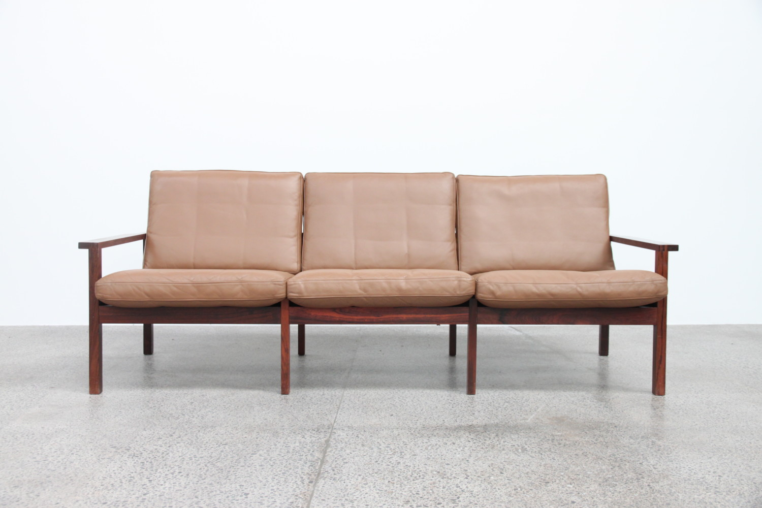 Rosewood & Leather Sofa Sold