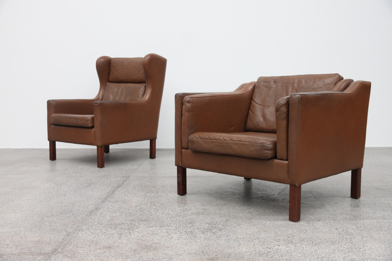 Brown Leather Low Back Armchair