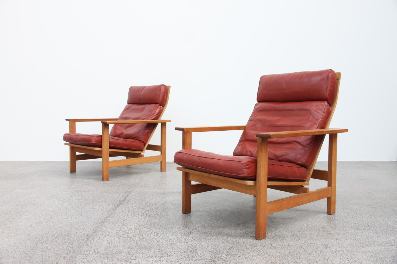 Oak & Leather Armchairs by Soren Holst