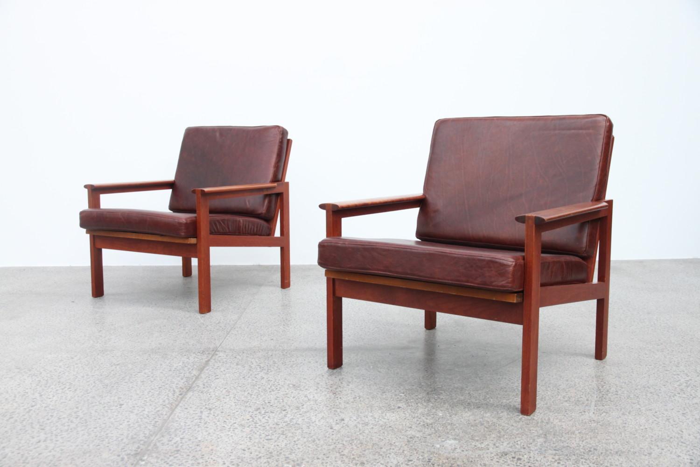 Illum Wikkelso Teak & Leather Armchairs Sold