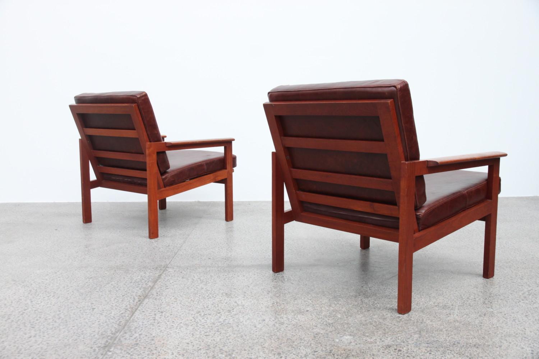 Illum Wikkelso Teak & Leather Armchairs