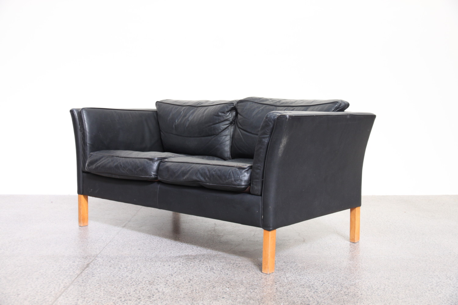 Black Leather Two Seater