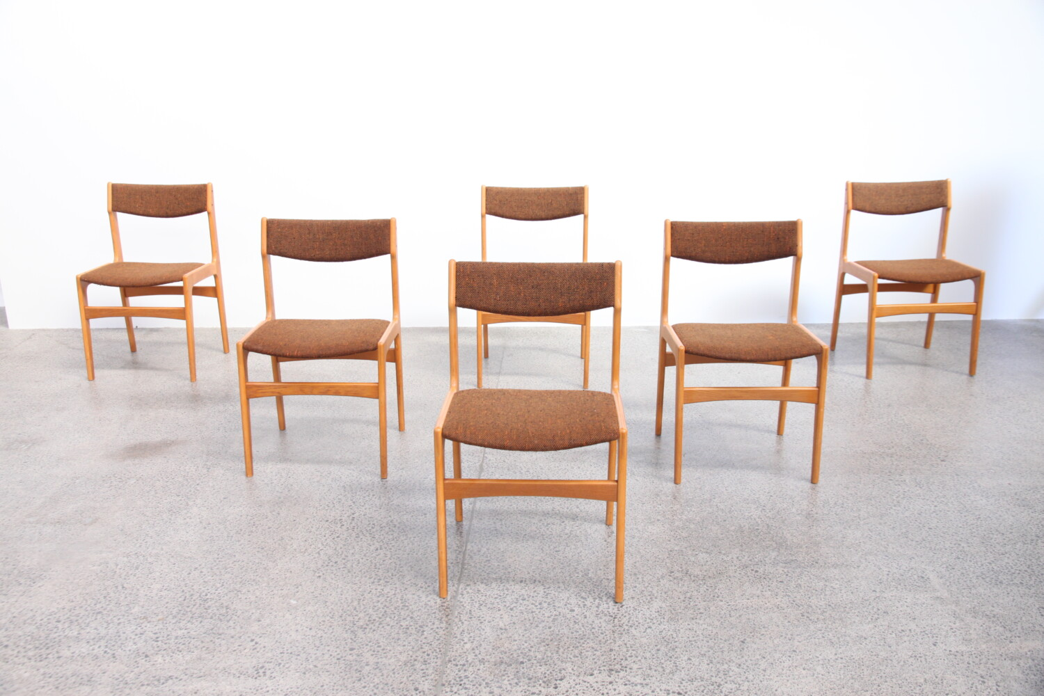 Oak + Wool Dining Chairs by Erik Buch
