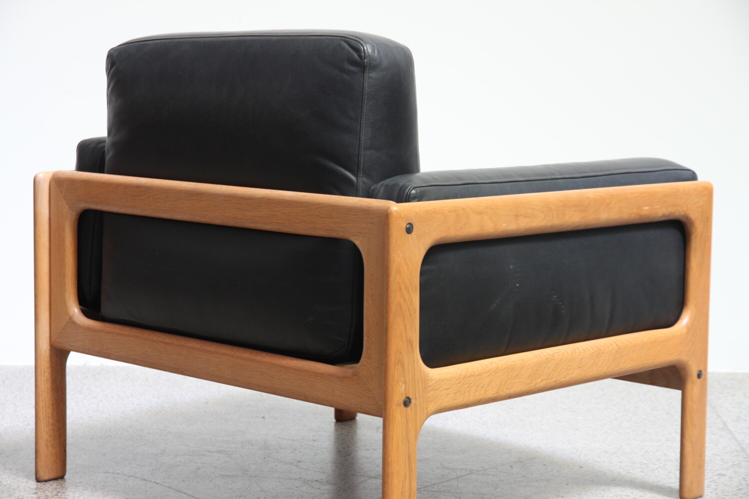 Pair of Leather & Oak Armchairs
