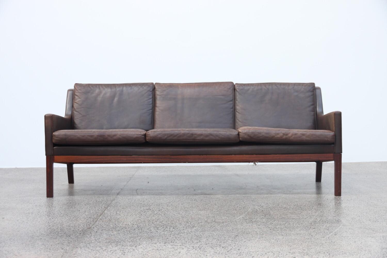 Brown Leather Sofa by Kai Lyngfeldt Larsen