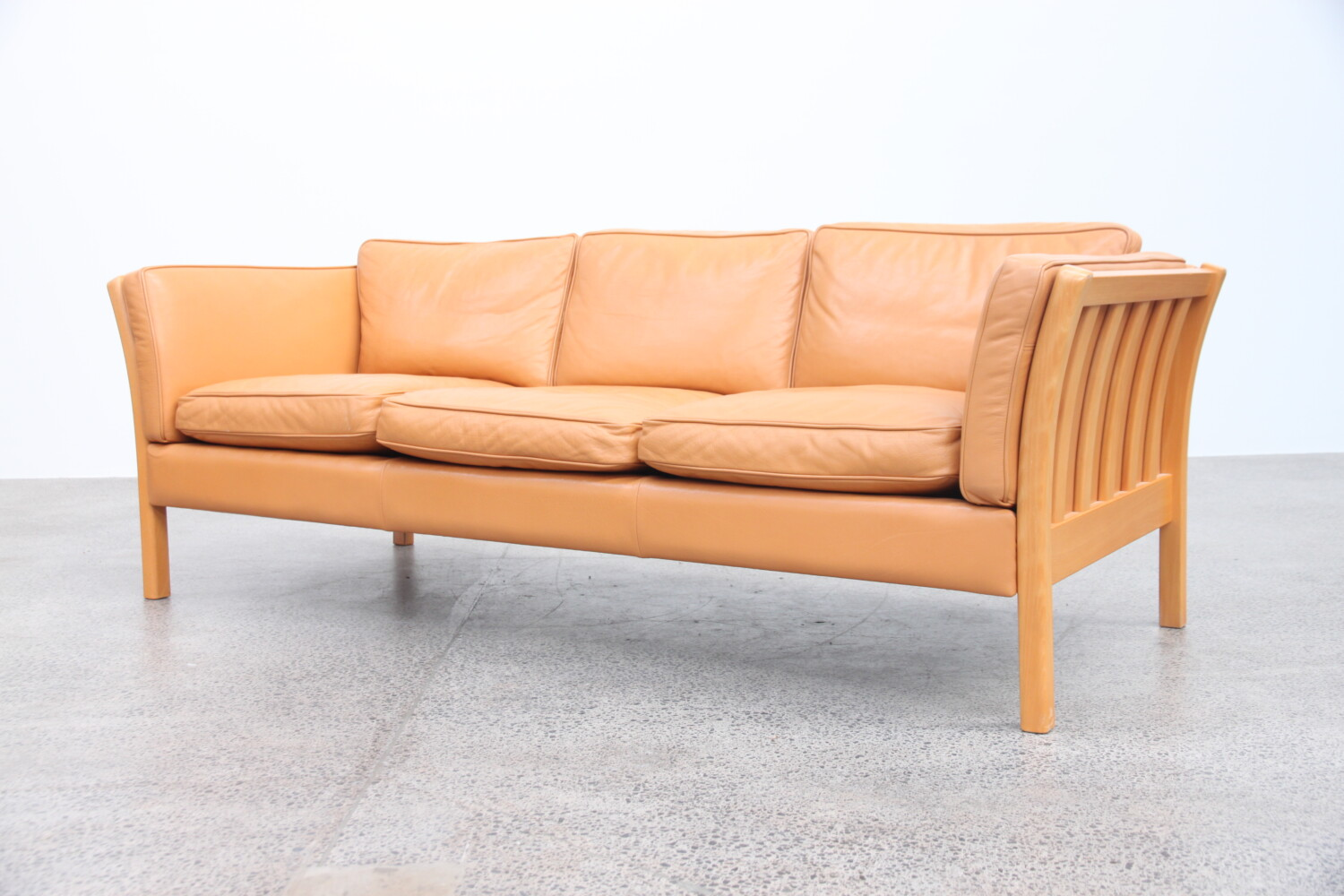 Pair of Tan Leather Sofas by Stouby