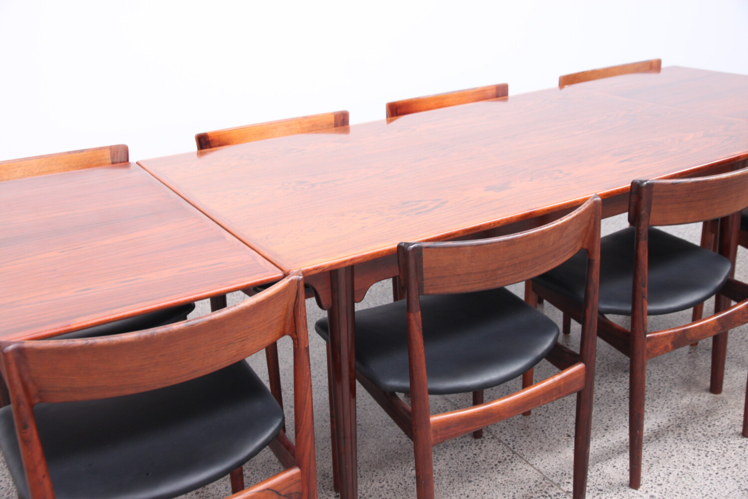 Rosewood and Leather Dining Chairs by Rosengren Hansen